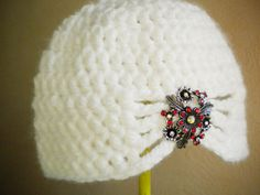 Items similar to Snow White Flapper Style Cloche Hat - Design your own hat with colors and brooches - Winter Hats for Women and Baby Girls on Etsy Crochet Hat For Women, Crochet Woman, Knit Crochet, Crocheted Headbands, Crocheted Hats, Flapper Style, Winter Hats For Women, Cloche Hat, Womens Clothing Stores