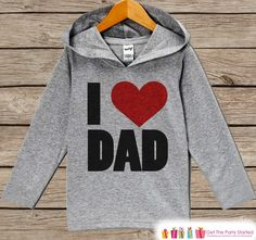 Kids Father's Day Hoodie - Grey Kids Hoodie - I Heart Dad - Toddler Happy Fathers Day Outfit - Novelty Kids Fathers Day Gift Idea - Boy Girl