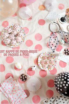 DIY NAPPE DE PIQUE-NIQUE DE PAQUES A POIS | Mademoiselle Bagatelles