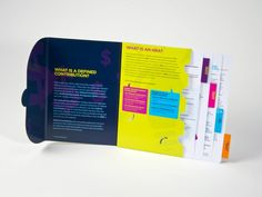 Cigna used this reference guide to educate small business owners on the features and benefits of its insurance plan. The colorful reference guide features several tabs on the inside, that when pulled out,  deliver detailed information on the different programs.