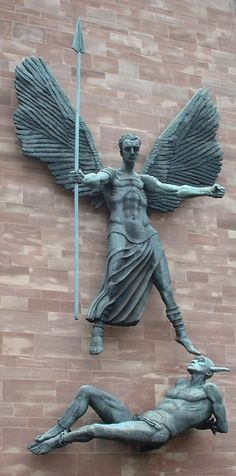 """""""St Michael's Victory over the Devil,"""" a sculpture by Sir Jacob Epstein at the new Anglican Cathedral of St. Michael, Coventry (United Kingdom), dedicated in 1962."""