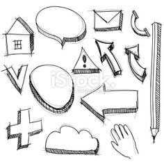 set hand drawn icons black lines on white background. vector Royalty Free Stock Vector Art Illustration