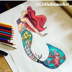 Lovely and creative ! Tag a friend who loves ariel ❤️ Done by @littlesamsart #disneyarts