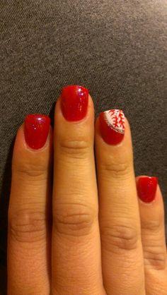 baseball nails/thanks to TJnails, mine look like that! baseball nails/thanks to TJnails, mine look like that! Love Nails, Red Nails, How To Do Nails, Pretty Nails, Hair And Nails, Gorgeous Nails, Baseball Nail Art, Softball Nails, Baseball Nail Designs