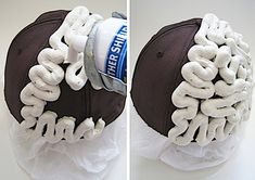 DIY Brain Cap made from an old cap and caulking material.  Good for Science  project or Halloween costume.
