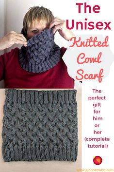 The Unisex Cowl Scarf is the perfect knitted gift for pretty much anyone in your family. Knitting Patterns Free, Knit Patterns, Free Knitting, Loom Knitting Scarf, Beginner Knitting, Finger Knitting, Knitting Machine, Crochet Scarves, Knit Crochet
