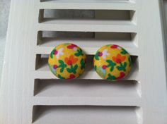 Multi-Colored Flowers on Yellow Fabric Covered Button Post Earrings