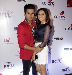 Ravi Dubey and Sargun Mehta at anthem launch of BCL team Mumbai Tigers. #Bollywood #Fashion #Style #Beauty #Hot