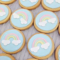 I've just listed these beautiful rainbow iced biscuits in my store! Deco Baby Shower, Baby Shower Cakes, Iced Cookies, Cute Cookies, Baby Shower Biscuits, Rainbow Sugar Cookies, Biscuit Decoration, Rainbow First Birthday, Iced Biscuits