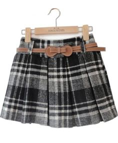 Black Plaid Belt Pleated Woolen Skirt pictures