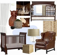 Reid's nursery... Crazy how we have already done this exact theme sans owl and carved tree.... Need to find pillows and chandelier...