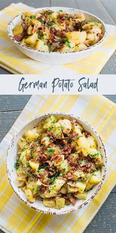 German Potato Salad is a sweet and sour potato salad with bacon, onion and fresh herbs. It's best served warm or at room temperature. Salad Recipes, Healthy Recipes, Simple Recipes, Summer Recipes, German Potatoes, Bowls, Side Dish Recipes, Side Dishes, Everyday Food