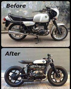 bmw cafe racer r nine t ; bmw cafe racer before and after ; Bmw Scrambler, Bobber Bmw, Moto Bike, Cafe Racer Motorcycle, Bike Bmw, Scrambler Custom, Women Motorcycle, Motorcycle Gear, Bmw Cafe Racer