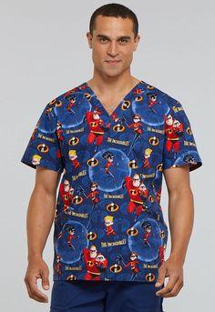 d0cee85cb9e Scrubs Cherokee Tooniforms-Disney Men's V-Neck Top Incredible Family TF663  ICAM (eBay
