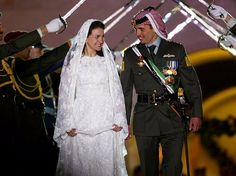 Princess Noor of Jordan was radiant in a beaded wedding dress, though the couple divorced in 2009.