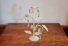 Tole Metal Candle Holder, Antique Chippy Ivory Iron Candleholder with Hanging Crystals, Cottage Chic, Casual Home