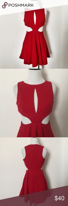 ASOS Cutout Red Dress Sexy ASOS Petite Cutout Red Dress. Perfect for a night out. Back zip with hook-eye closure. 31in L. 96% Polyester. 4% Elastane. Asos Dresses Mini
