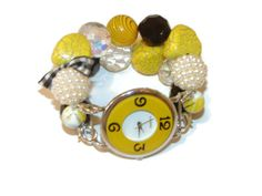 Shabby Chic Black and Yellow Watch Yellow and Black by BeadsnTime, $30.00