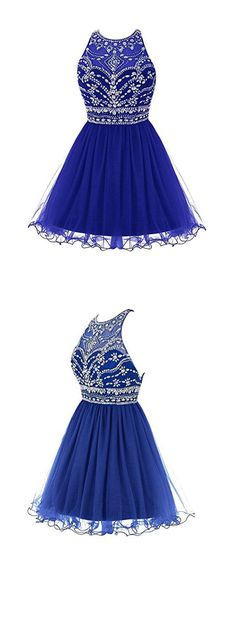 Royal Blue Prom Dress,Beaded Prom Dress,Fashion Homecoming Dress,Sexy