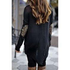 Black w/ purple sequin elbow top Brand new bought form another posher but doesn't fit me right super soft and comfortable -sequins are purple :)  I do not trade & only accept offers through offer button  Tops Tees - Long Sleeve