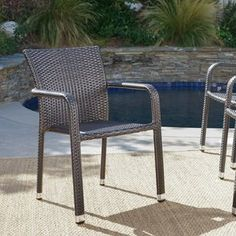 These Wiersma stacking patio dining Chair are a wonderful way to add extra seating to your patio without taking up all of your space. With the added benefit of being able to store these chairs stack Patio Rocking Chairs, Outdoor Dining Chairs, Dining Arm Chair, Patio Chairs, Outdoor Decor, Condo Furniture, Wicker Patio Furniture, Furniture Makeover, Furniture Ideas