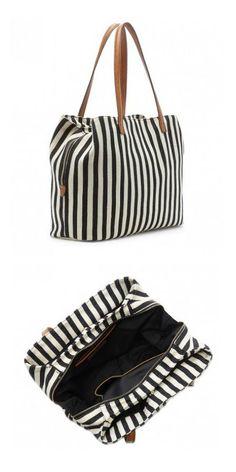 e4107cce9e Striped tote bag with three interior compartments