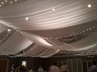 40 best wedding ideas images on pinterest birthdays 50th birthday fabric and lights on ceiling at wedding reception junglespirit Images