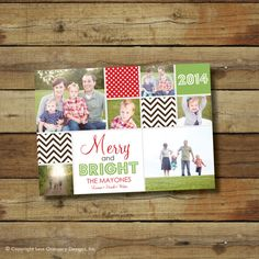 Merry and Bright Christmas card holiday card