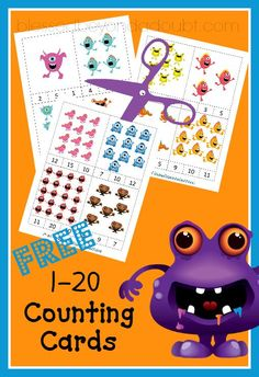 FREE Super cute baby monster counting cards! My daughter is having so much FUN with these!
