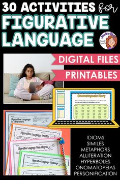 Figurative language is SUCH a fun English language arts topic to tackle with students! Kids love learning about onomatopoeias, hyperboles, idioms, personification, and more because they tend to be so silly and fun to read and write. This resource pack includes a variety of printables or Google Classroom digital versions that you can use to teach and practice figurative language in your upper elementary classroom. You definitely want to click through to grab this ELA activity pack for your class! English Words, English Language, Language Arts, Writing Resources, Teaching Writing, Figurative Language Activity, 6th Grade Ela, Mentor Texts, Language Activities