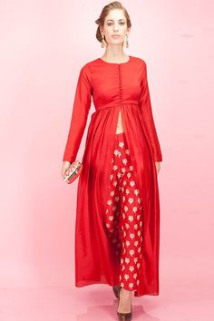 SVA Red front slit tunic and trishul embroidered pants