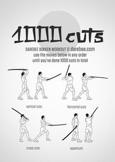 1000 Cuts Workout For More Health And Fitness Tips Visit Our Website Martial Arts Workout, Martial Arts Training, Boxing Workout, Parkour Workout, Martial Arts Techniques, Self Defense Techniques, Kendo, Superhero Workout, Combat Training