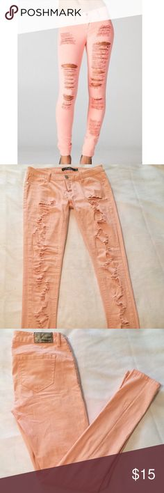 🌸Pink distressed jeans🌸 Bubblegum pink distressed jeans. Dress it up with heels or dress it down with sneakers😘 Jeans