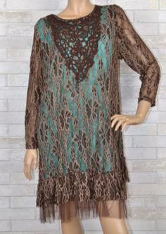 Amazing Lace- Lady Noiz- Plus Dress-Soft Brown-Turquoise Lined – Debra's Passion Boutique