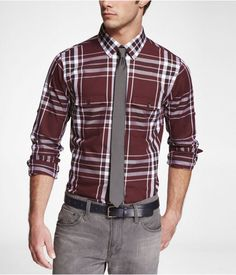 Express Mens Plaid Extra Slim Fit Military Shirt Russian Ruby, Medium  $41.94