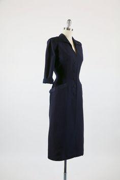 Annata 1950 abito / blu Navy abito / 50s abito / di 4birdsvintage