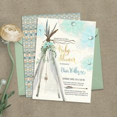"""Teepee bohemian Baby Boy Shower invitation. DIGITAL printable files. Original artwork. Customized by me with your details. Please, read the description before purchasing. This listing is: – One two-sided digital 5""""x7"""" card. FILES INCLUDED: – 1 card (5""""x7"""", JPEG, 300 dpi) – 1 layout"""
