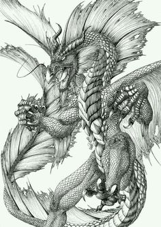 Water dragon by FlamSlade on DeviantArt DeviantArt is the world's largest online social community fo Dragon Images, Dragon Pictures, Dragon Coloring Page, Coloring Pages, Colouring, Fantasy Dragon, Fantasy Art, Fantasy Creatures, Mythical Creatures