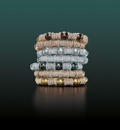 """""""Cartier Pearl and Diamond bracelets""""  Love these colors, and it looks easy enough to get a similar look for your DIY self."""