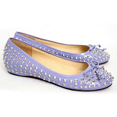 Move over Tori Burch, Christian Louboutin Big Kiss Rivets Studded Blue Leather Bowknot Flats! Studded Flats, Studded Leather, Leather Flats, Purple Leather, Cheap Christian Louboutin, Black Peep Toe Pumps, Red Bottom Shoes, Spike Shoes, Fashion Heels