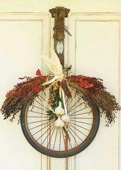 Diy fall wreath bicycle theme