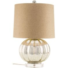 Silver Scalloped Lamp with Beige Shade