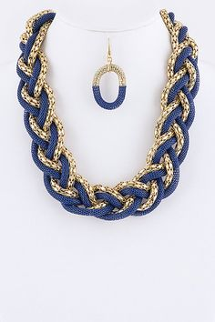 TWO TONE GLAM WOVEN NECKLACE EARRINGS SET (BLUE) - $22