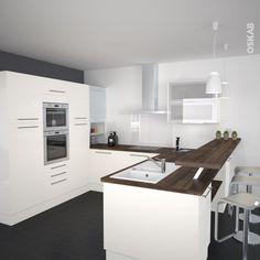 univers cuisine noir laque plan de travail bois | Kitchens ...