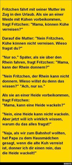 Fritzchen fährt mit seiner Mutter im Zug in den Urlaub.. | Lustige Bilder, Sprüche, Witze, echt lustig