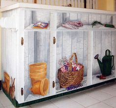 Crackled Cabinet with Trompe L'oeil Objects