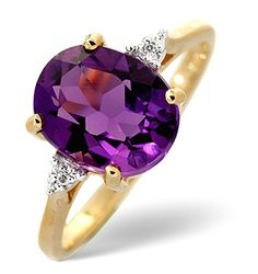 The beautiful 2.15CT oval cut amethyst takes centre stage in this stunning ring, with the 0.01CT of Premium Quality Diamonds further highlighting its iridescent glow. The amethyst is claw set within a gleaming band of 9K yellow gold to make this show-stopper complete.  #thediamondstoreuk #amethyst #amethystjewellery #amethystbirthstone #februarybirtshstone #amethystrings