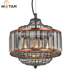 Modern single crystal pendant lamp with E27 for hotle and home