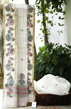 Bengal handloom kora silk saree