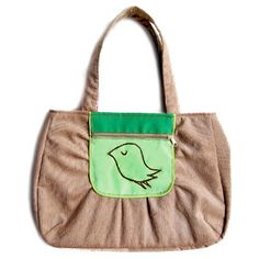 Tote Bag - The Snotty Bird Bag (Beige And Green) - SALE. $48.00, via Etsy.